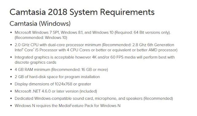 Camtasia Studio 8 System Requirements
