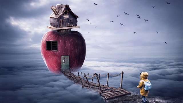 Apple House - Above the Cloud Photoshop Manipulation