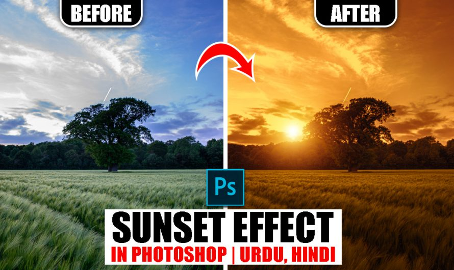 How to Create Sunset Effect in Photoshop | Urdu Hindi